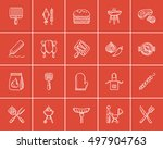 barbecue sketch icon set for... | Shutterstock .eps vector #497904763