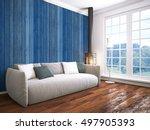 modern bright interior . 3d... | Shutterstock . vector #497905393