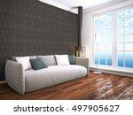 modern bright interior . 3d... | Shutterstock . vector #497905627
