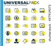 set of 25 universal icons on... | Shutterstock .eps vector #497919073