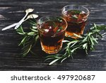 cold rosemary tea with ice on... | Shutterstock . vector #497920687