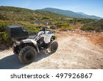 Small photo of Zakynthos, Greece - August 20, 2016: White ATV quad bike Aeon Overland 200 stands parked on rural road. Popular tourist mode of transport on Greek islands