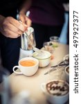 coffee trainer made a hot latte ...   Shutterstock . vector #497927377