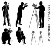cameraman with  video camera.... | Shutterstock .eps vector #497927383
