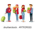 people with christmas gifts  | Shutterstock .eps vector #497929033