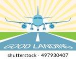 airplane make good landing.... | Shutterstock .eps vector #497930407