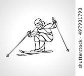 giant slalom ski racer outline...   Shutterstock .eps vector #497931793
