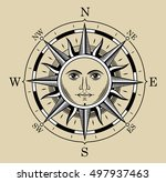 compass in the form of the sun. ... | Shutterstock .eps vector #497937463