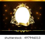royal frame on black pattern... | Shutterstock .eps vector #497946013