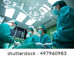 the work of a team of doctors... | Shutterstock . vector #497960983