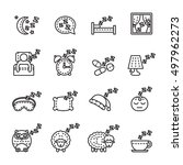 sleeping icon set. thin line... | Shutterstock .eps vector #497962273