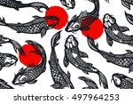 seamless pattern with koi carp... | Shutterstock .eps vector #497964253