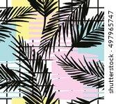 trendy seamless exotic pattern... | Shutterstock .eps vector #497965747