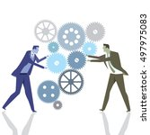 businessmen with gears in... | Shutterstock . vector #497975083