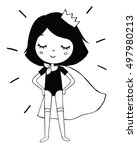 superhero princess girl black... | Shutterstock . vector #497980213