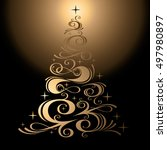 vector golden christmas tree... | Shutterstock .eps vector #497980897