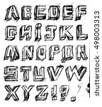 vector alphabet. hand drawn... | Shutterstock .eps vector #498003313