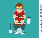 guy hipster sits on toilet bowl ... | Shutterstock .eps vector #498058753
