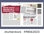 rolled ribbon of the newspaper, revealing a story of hidden in a modern graphical design template of a newspaper | Shutterstock vector #498062023