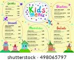 cute colorful meal kids menu... | Shutterstock .eps vector #498065797