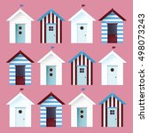 Multicolor Beach Huts. Vector...