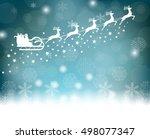 santa claus rides in a sleigh...   Shutterstock .eps vector #498077347