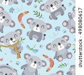 vector cartoon style koala... | Shutterstock .eps vector #498080617