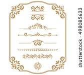 vintage vector set. floral... | Shutterstock .eps vector #498085633