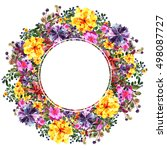 yellow and blue flowers  red... | Shutterstock . vector #498087727