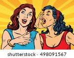 two girls pop art scream  retro ... | Shutterstock .eps vector #498091567
