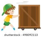 boy pushing wooden box alone | Shutterstock .eps vector #498092113