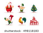 vector flat christmas elf... | Shutterstock .eps vector #498118183