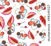 floral pattern with multicolor... | Shutterstock .eps vector #498149227