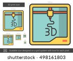 three d print vector line icon... | Shutterstock .eps vector #498161803