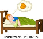 boy cartoon sleeping and dream... | Shutterstock .eps vector #498189223