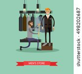 tailor measuring his man client ... | Shutterstock .eps vector #498202687