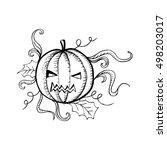 halloween pumpkin with evil... | Shutterstock .eps vector #498203017