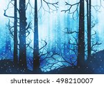 winter foggy forest at night... | Shutterstock . vector #498210007