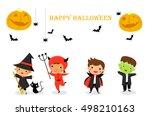 cute kids wearing halloween... | Shutterstock .eps vector #498210163