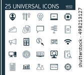 set of 25 universal icons on