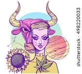 girl symbolizes the zodiac sign ... | Shutterstock .eps vector #498220033