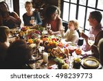 people talking celebrating... | Shutterstock . vector #498239773