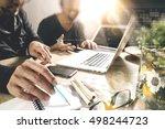 co worker using voip headset... | Shutterstock . vector #498244723