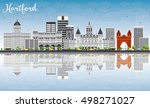 hartford skyline with gray... | Shutterstock .eps vector #498271027