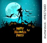 young and sexy halloween witch  ... | Shutterstock .eps vector #498272683