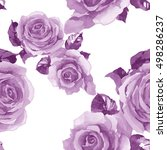 2 Violet Roses Watercolor...