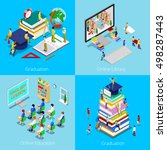 isometric educational concept.... | Shutterstock .eps vector #498287443