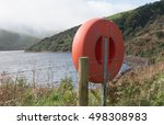 Small photo of Life Buoy on the Shore of Meldon Reservoir within Dartmoor National Park in Devon, England, UK
