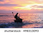 beautiful sunrise on the beach... | Shutterstock . vector #498313093