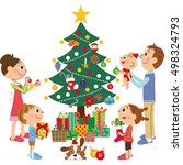 family with the decoration as a ... | Shutterstock .eps vector #498324793